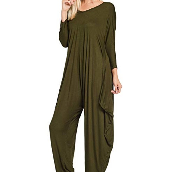 1f66c9998664 Annabelle Pants - Olive Long Sleeve Comfy Harem Jumpsuit w Pockets